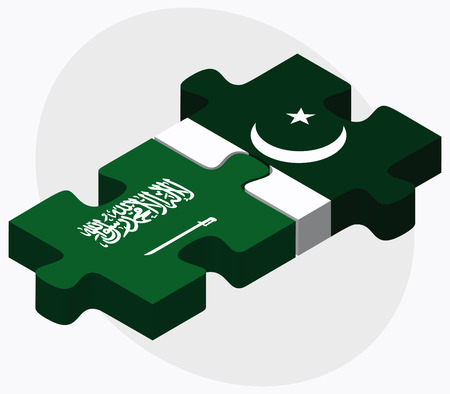 islamabad: Saudi Arabia and Pakistan Flags in puzzle isolated on white background Illustration