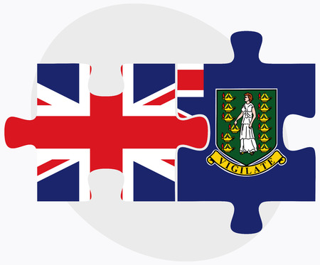 virgin islands: United Kingdom and Virgin Islands (British) Flags in puzzle isolated on white background