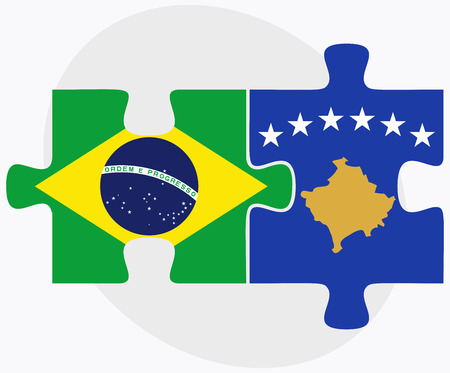 kosovo: Brazil and Kosovo Flags in puzzle isolated on white background