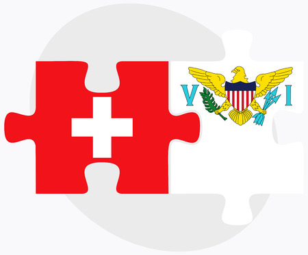 virgin islands: Switzerland and Virgin Islands (U.S.) Flags in puzzle isolated on white background