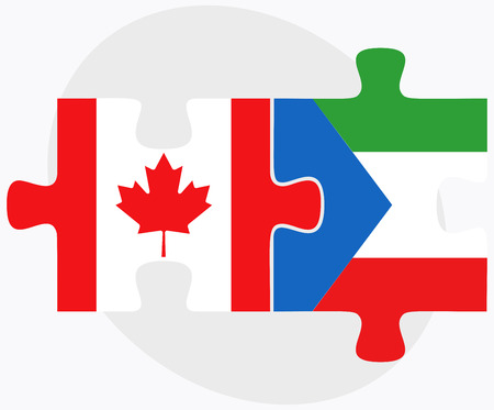 equatorial guinea: Canada and Equatorial Guinea Flags in puzzle isolated on white background Illustration