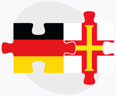 dependency: Germany and Guernsey Flags in puzzle isolated on white background