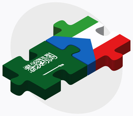 guinea equatoriale: Saudi Arabia and Equatorial Guinea Flags in puzzle isolated on white background