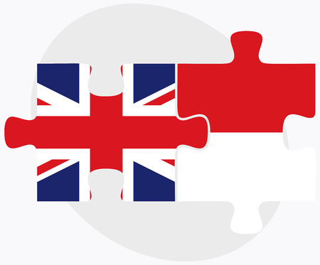 monegasque: United Kingdom and Monaco Flags in puzzle isolated on white background Illustration