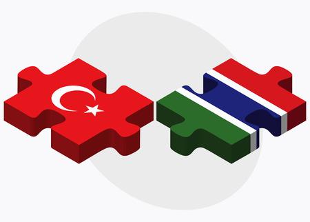 gambia: Turkey and Gambia Flags in puzzle isolated on white background