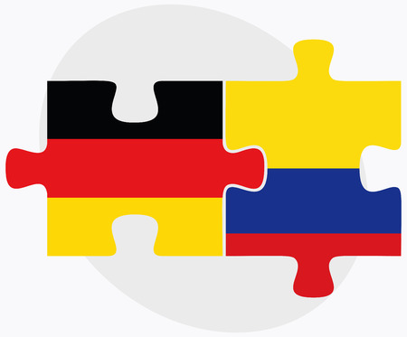 republic of colombia: Germany and Colombia Flags in puzzle isolated on white background