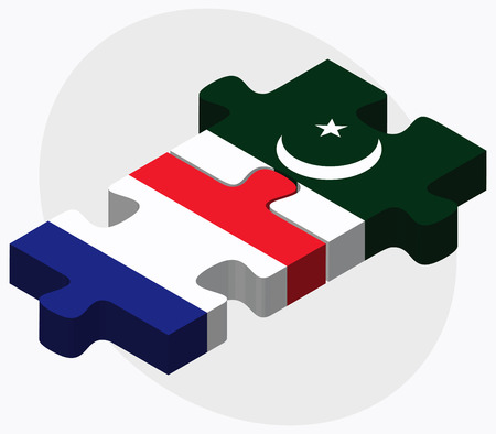 islamabad: France and Pakistan Flags in puzzle isolated on white background Illustration