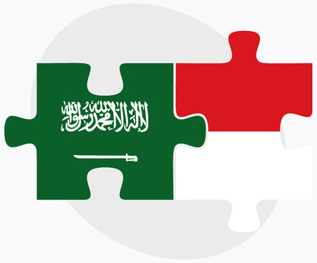 monegasque: Saudi Arabia and Monaco Flags in puzzle isolated on white background Illustration