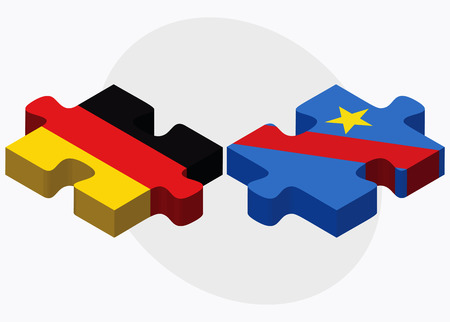 democratic republic of the congo: Germany and Democratic Republic Congo Flags in puzzle isolated on white background