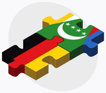 comoros: Germany and Comoros Flags in puzzle isolated on white background Illustration