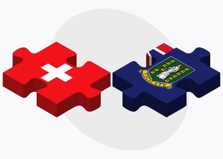 virgin islands: Switzerland and Virgin Islands (British) Flags in puzzle isolated on white background