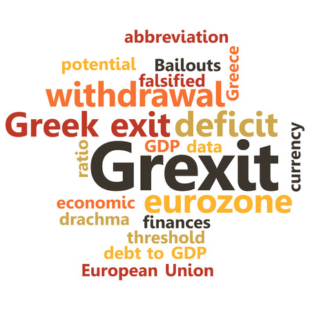 describe: illustration in word clouds of the word Grexit Illustration