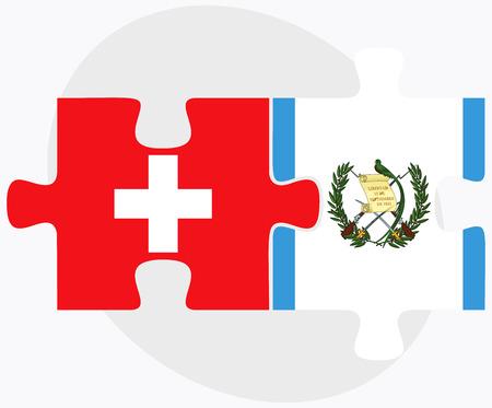 guatemalan: Switzerland and Guatemala Flags in puzzle isolated on white background