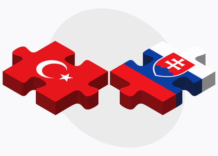 slovakian: Turkey and Slovakia Flags in puzzle isolated on white background