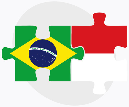 federative republic of brazil: Brazil and Monaco Flags in puzzle isolated on white background Illustration