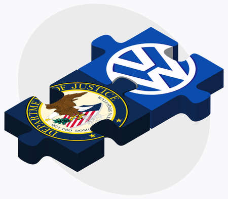 editorial design: ISTANBUL, TURKEY - OCTOBER 21, 2015: United States Department of Justice and Volkswagen in puzzle form on white background. Illustration