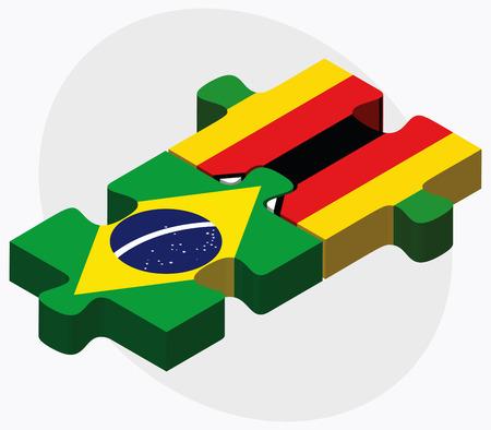 zimbabwe: Brazil and Zimbabwe Flags in puzzle isolated on white background