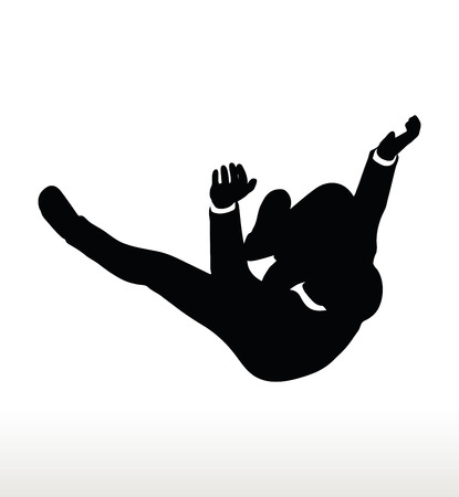 diminishing view: illustration in silhouette of businessman falling
