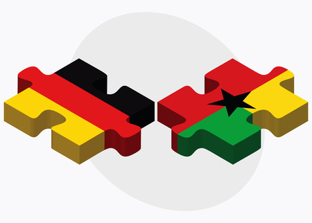 georgetown: Germany and Guyana Flags in puzzle isolated on white background Illustration