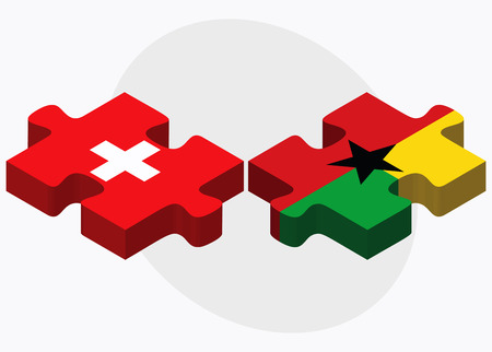 georgetown: Switzerland and Guyana Flags in puzzle isolated on white background Illustration