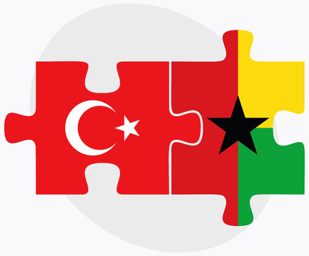 georgetown: Turkey and Guyana Flags in puzzle isolated on white background