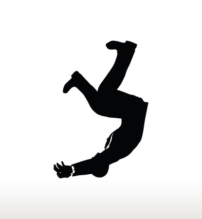 crumbling: illustration in silhouette of businessman falling