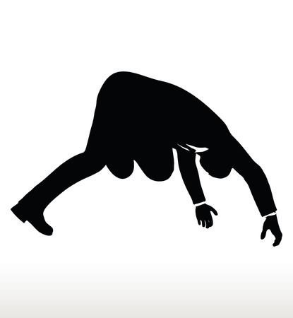 illustration in silhouette of businessman falling