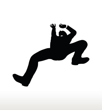 tumbling: illustration in silhouette of businessman falling