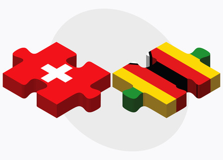 zimbabwe: Switzerland and Zimbabwe Flags in puzzle isolated on white background