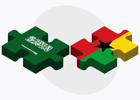 georgetown: Saudi Arabia and Guyana Flags in puzzle isolated on white background