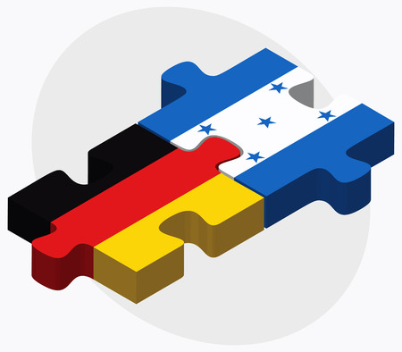 federal republic of germany: Germany and Honduras Flags in puzzle isolated on white background