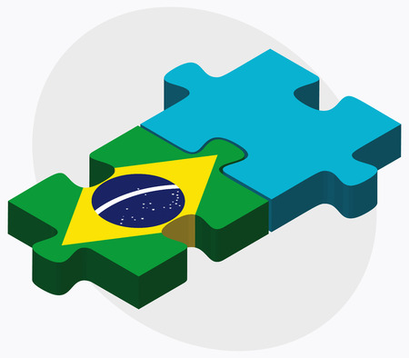 federative republic of brazil: Brazil and Kazakhstan Flags in puzzle isolated on white background Illustration