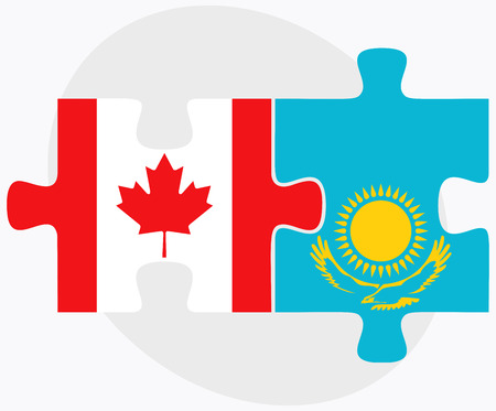 Canada and Kazakhstan Flags in puzzle isolated on white background
