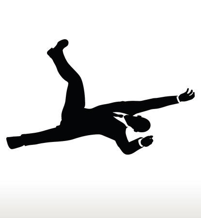collapsing: illustration in silhouette of businessman falling