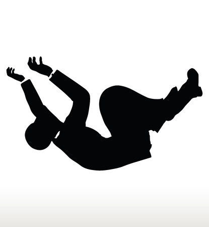 crumbling: EPS 10 Vector illustration in silhouette of businessman falling
