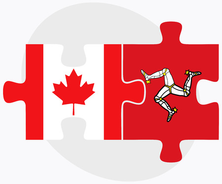 isle: Canada and Isle of Man Flags in puzzle isolated on white background