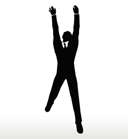beetling: EPS 10 Vector- illustration in silhouette of businessman hanging