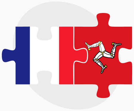 british isles: France and Isle of Man Flags in puzzle isolated on white background