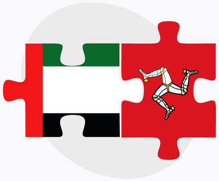 british isles: United Arab Emirates and Isle of Man Flags in puzzle isolated on white background