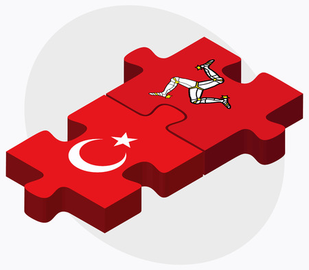 british isles: Turkey and Isle of Man Flags in puzzle isolated on white background