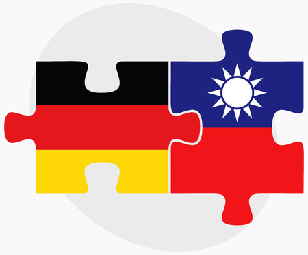 taiwanese: Germany and Taiwan Flags in puzzle isolated on white background Illustration