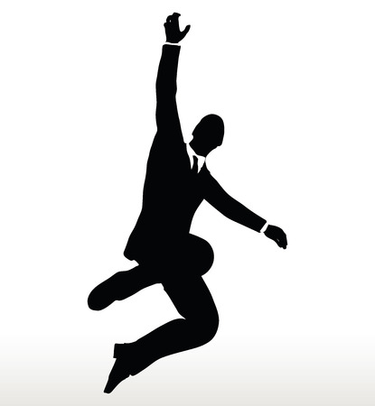suspended: EPS 10 Vector- illustration in silhouette of businessman hanging