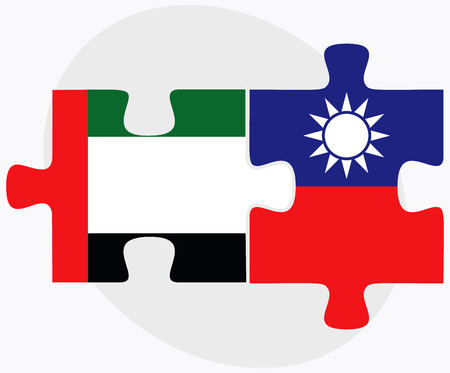 taiwanese: United Arab Emirates and Taiwan Flags in puzzle isolated on white background