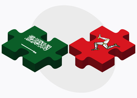 british isles: Saudi Arabia and Isle of Man Flags in puzzle isolated on white background Illustration