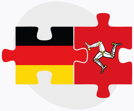 british isles: Germany and Isle of Man Flags in puzzle isolated on white background