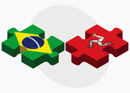 federative republic of brazil: Brazil and Isle of Man Flags in puzzle isolated on white background