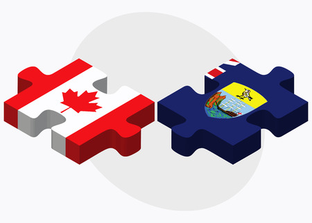 helena: Canada and Saint Helena Flags in puzzle isolated on white background