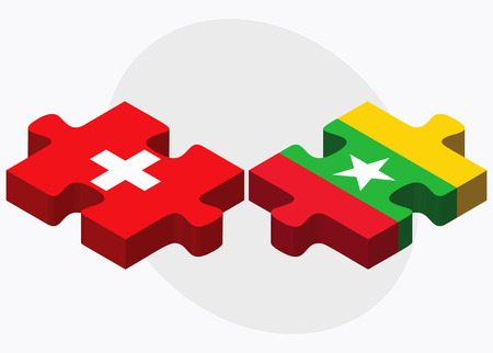 myanmar: Switzerland and Myanmar Flags in puzzle isolated on white background
