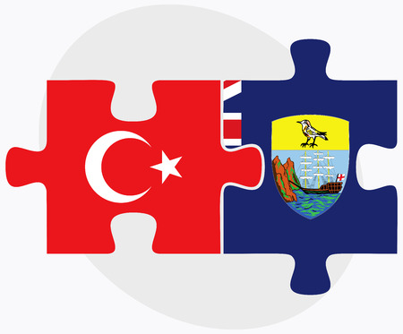 helena: Turkey and Saint Helena Flags in puzzle isolated on white background