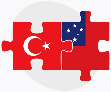 samoa: Turkey and Samoa Flags in puzzle isolated on white background